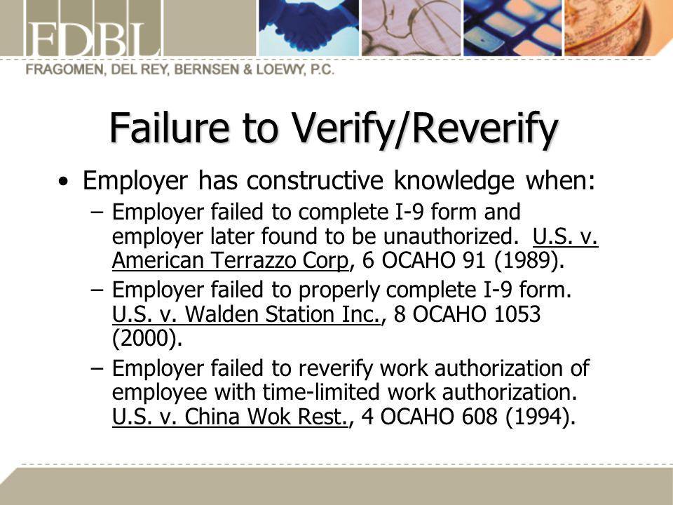 Failure to Verify/Reverify