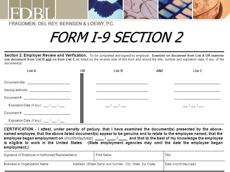 FORM I-9 SECTION 2