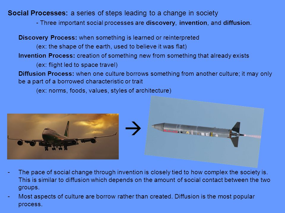  Social Processes: a series of steps leading to a change in society