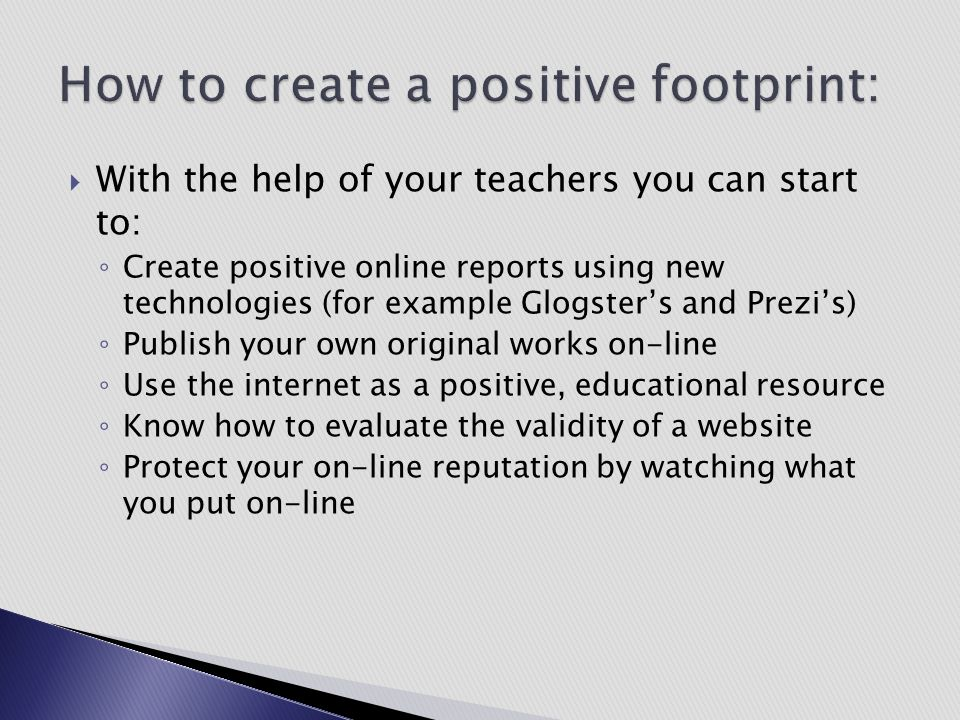 How to create a positive footprint: