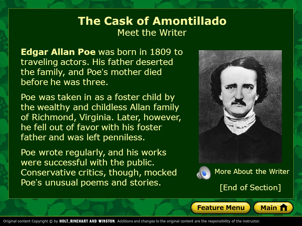 The Cask of Amontillado Meet the Writer