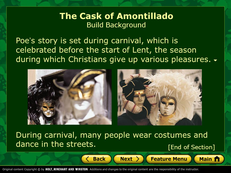 The Cask of Amontillado Build Background
