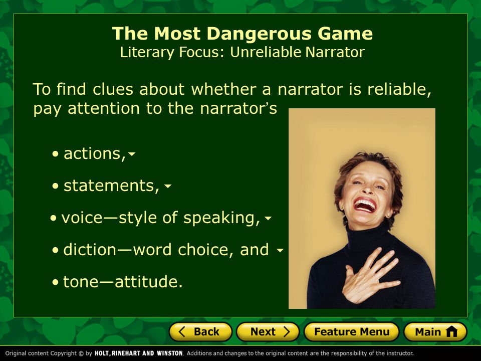 The Most Dangerous Game Literary Focus: Unreliable Narrator