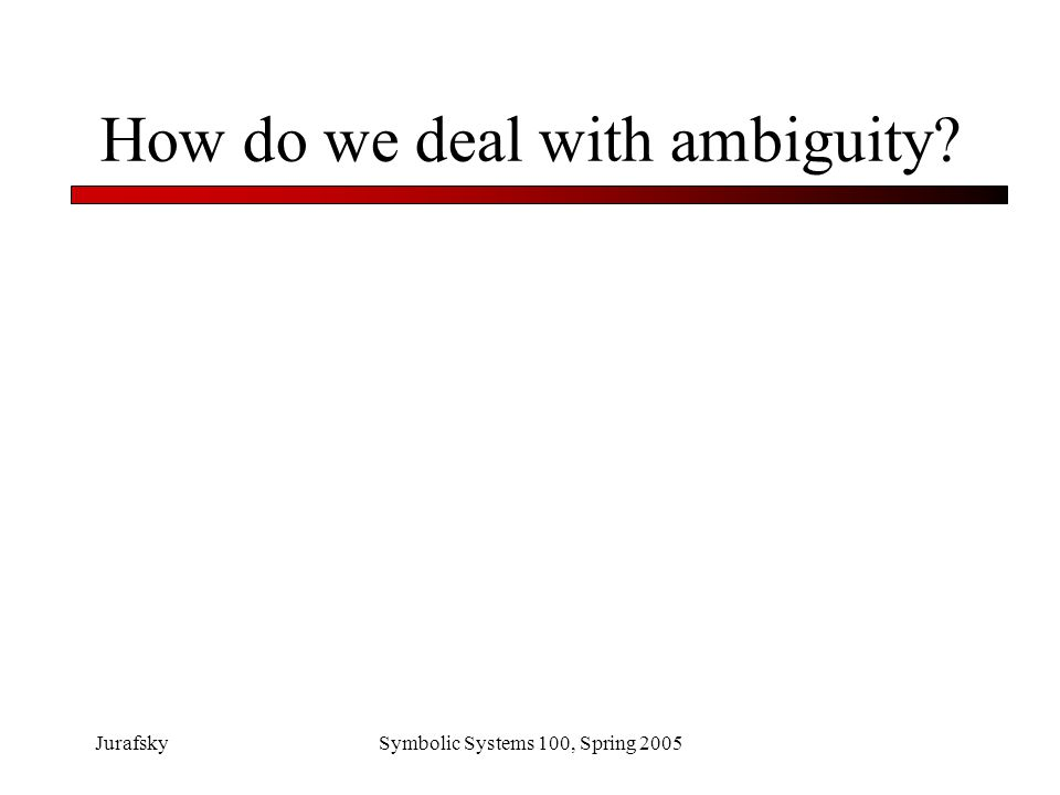 How do we deal with ambiguity