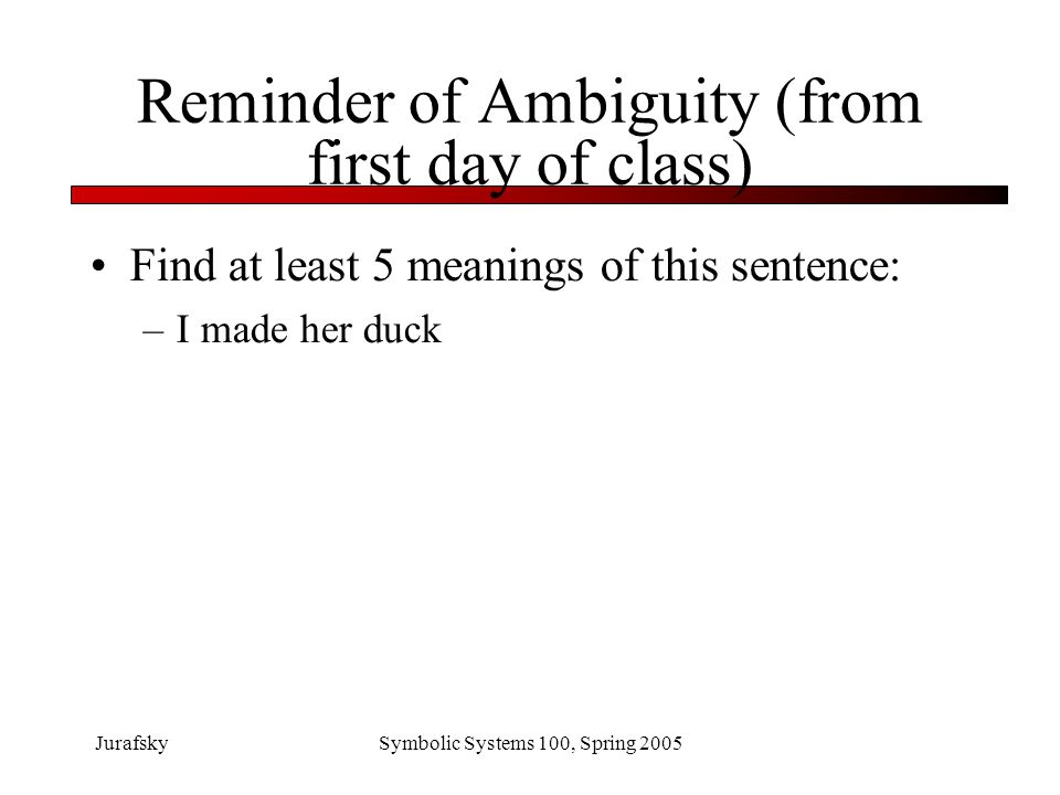 Reminder of Ambiguity (from first day of class)