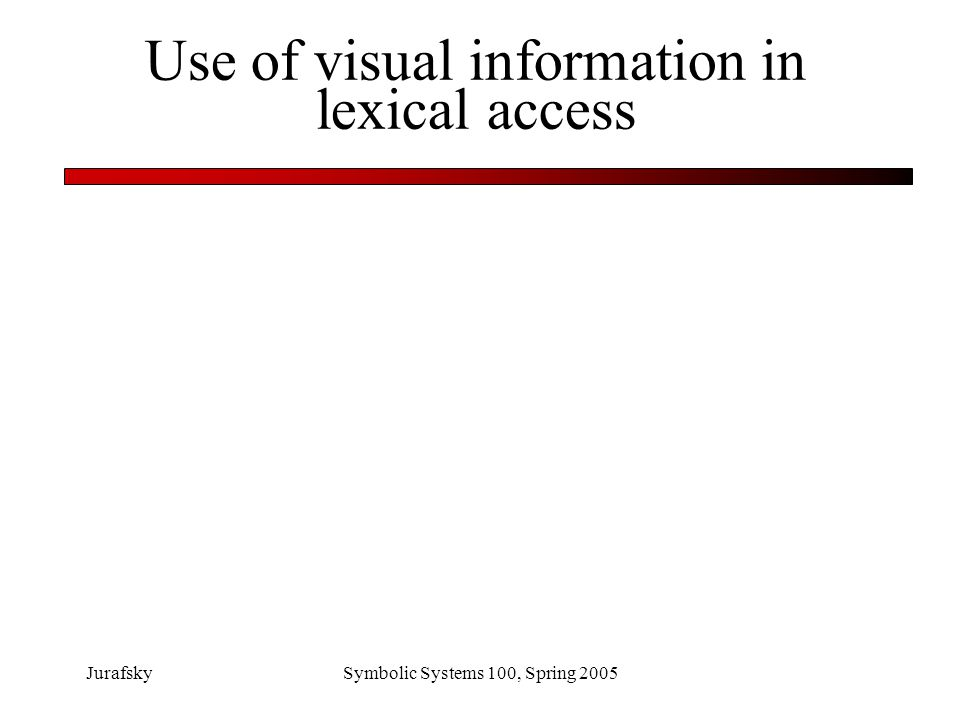 Use of visual information in lexical access