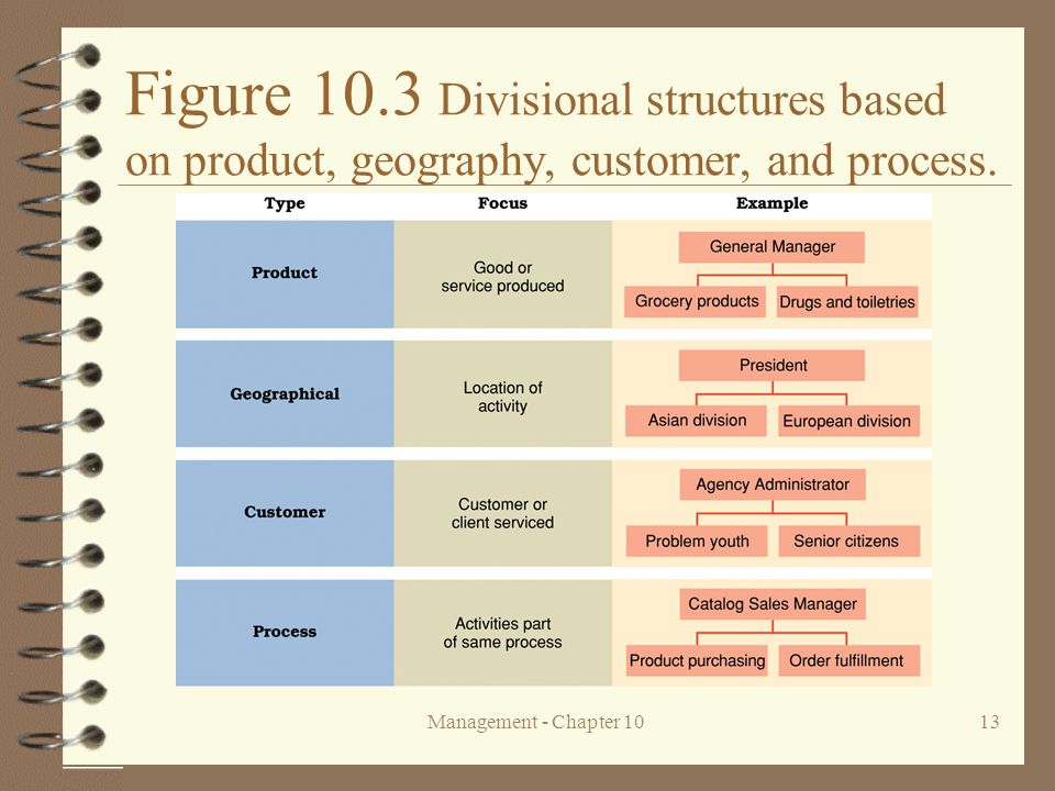 Figure 10.3 Divisional structures based on product, geography, customer, and process.