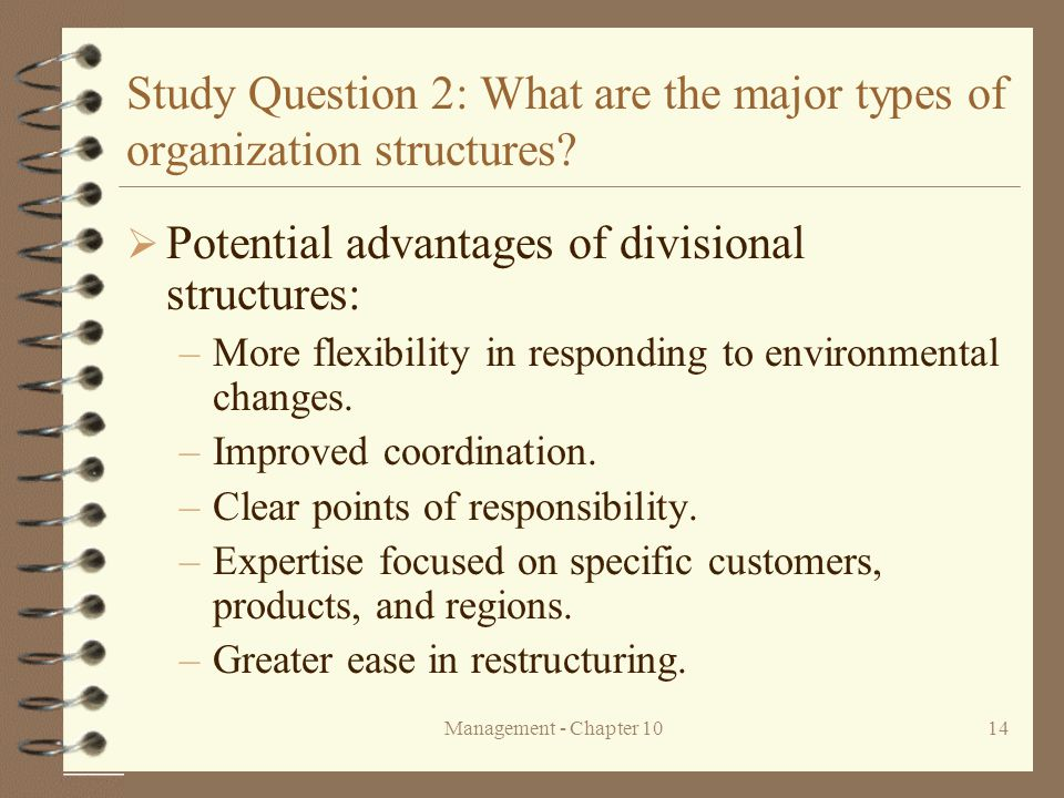 Study Question 2: What are the major types of organization structures