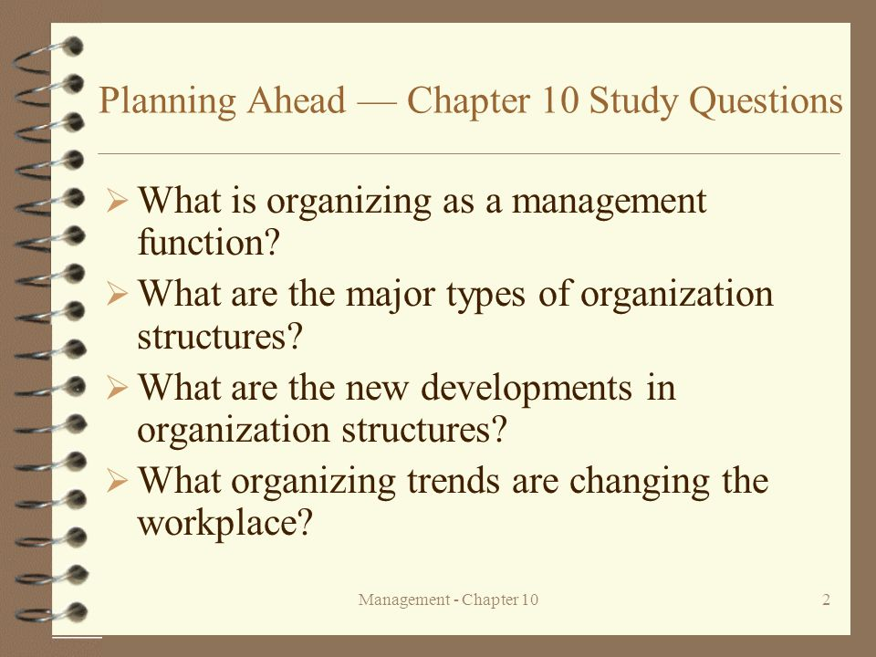 Planning Ahead — Chapter 10 Study Questions