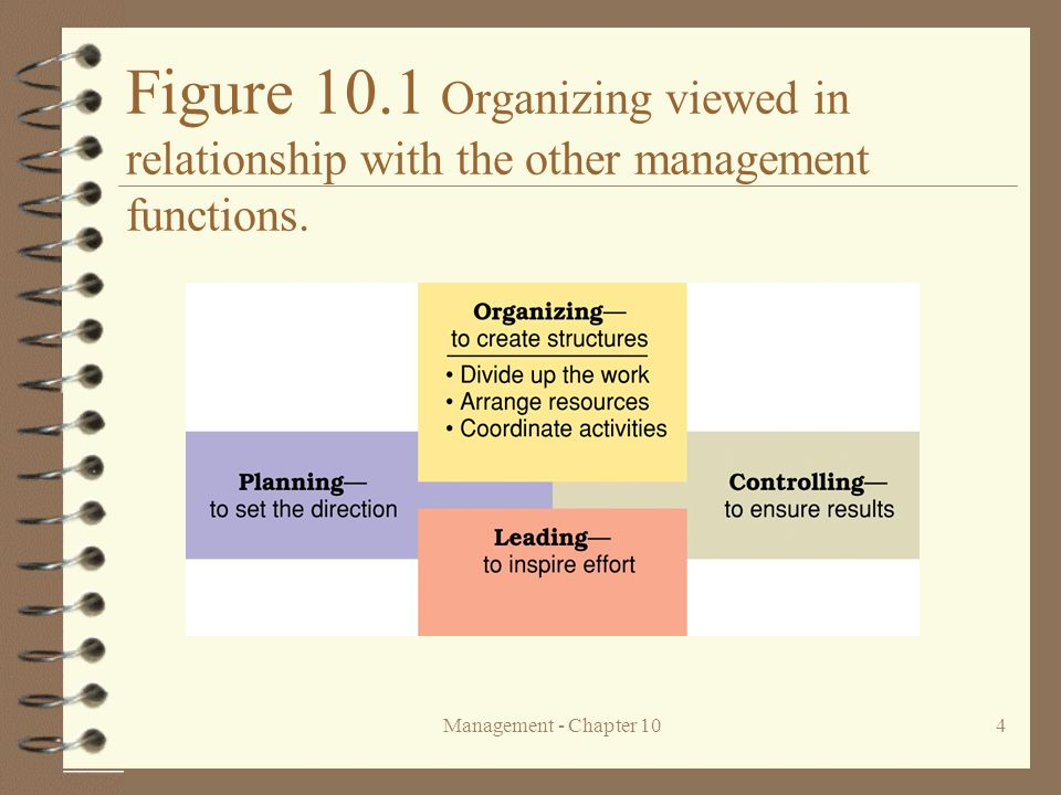 Figure 10.1 Organizing viewed in relationship with the other management functions.