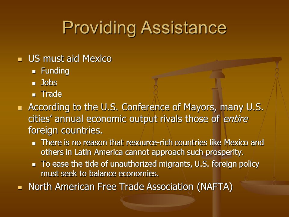 Providing Assistance US must aid Mexico