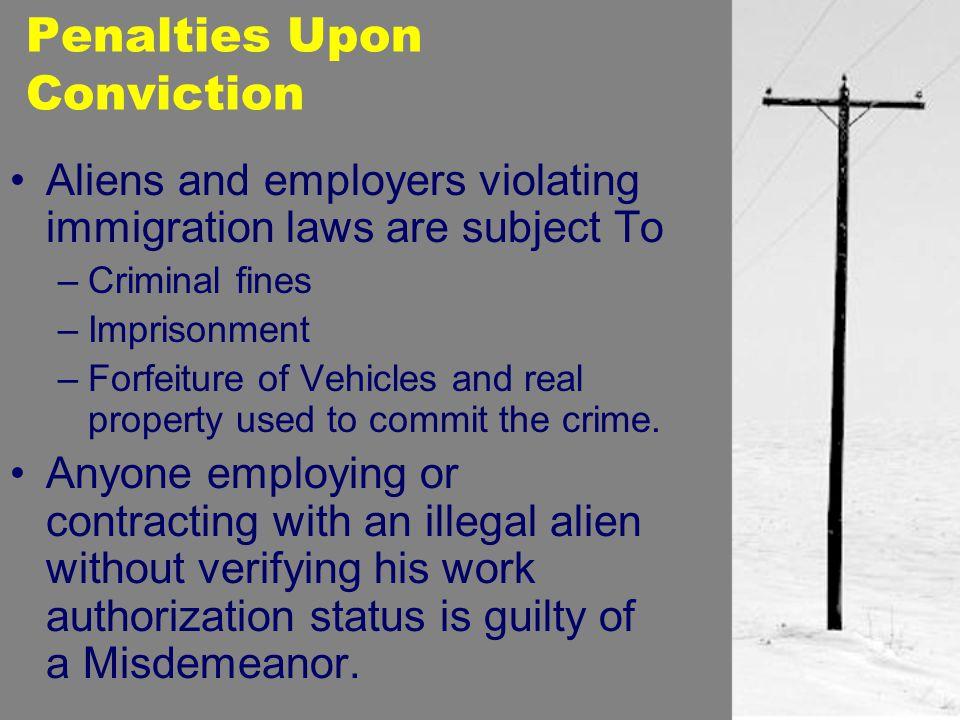 Penalties Upon Conviction
