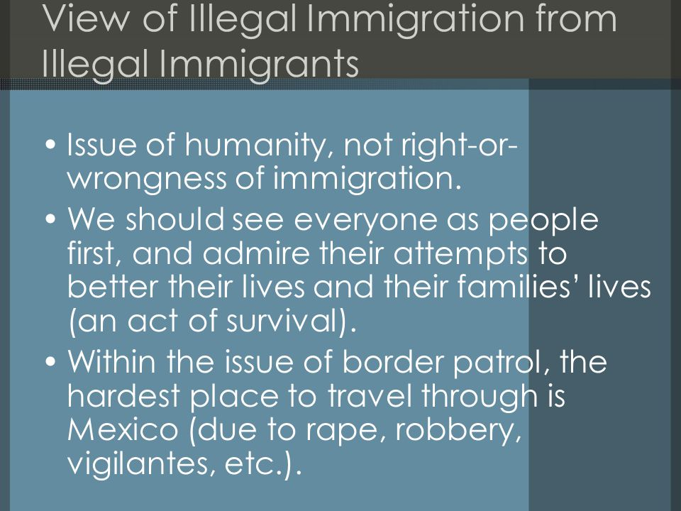 View of Illegal Immigration from Illegal Immigrants