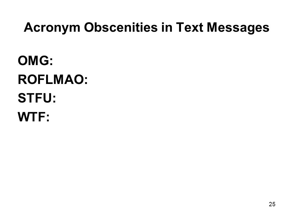 Acronym Obscenities in Text Messages