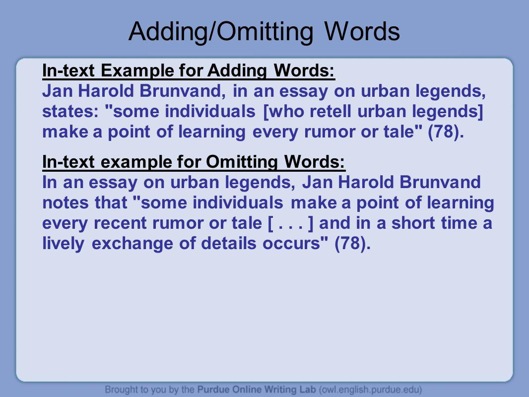 Adding/Omitting Words