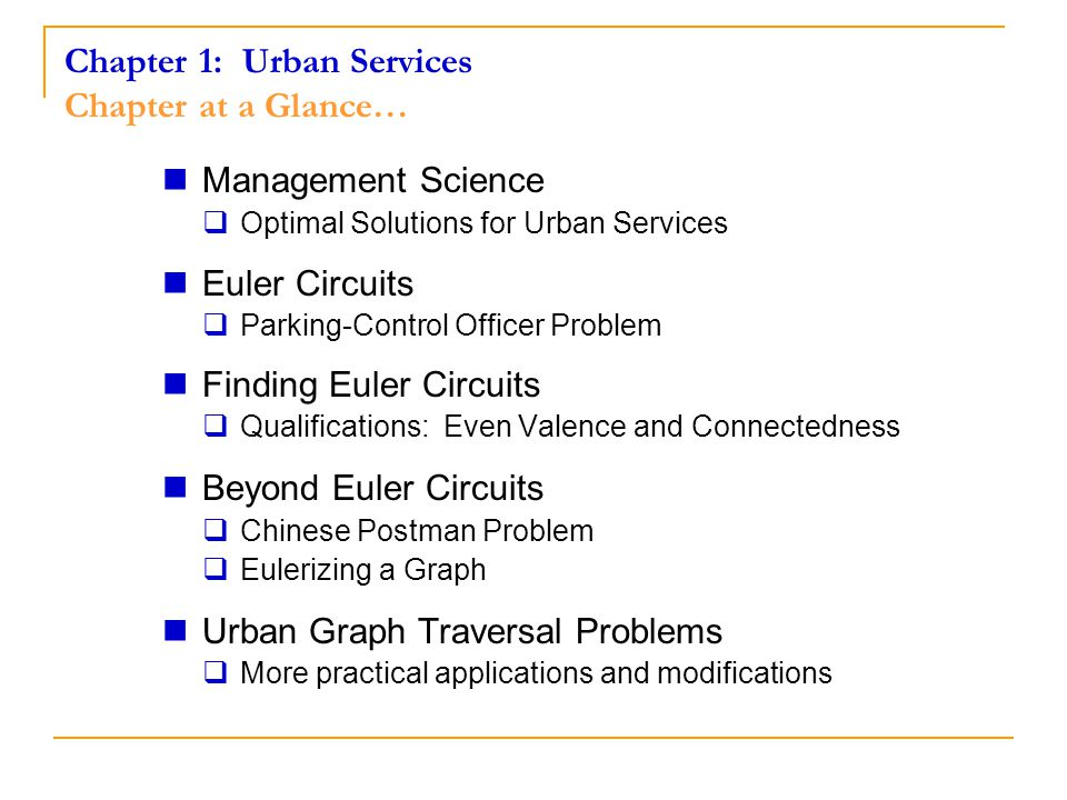 Chapter 1: Urban Services Chapter at a Glance…