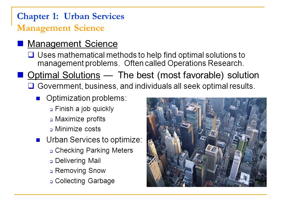 Chapter 1: Urban Services Management Science