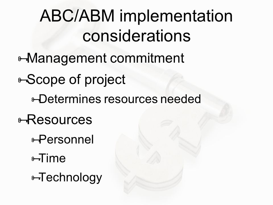 ABC/ABM implementation considerations