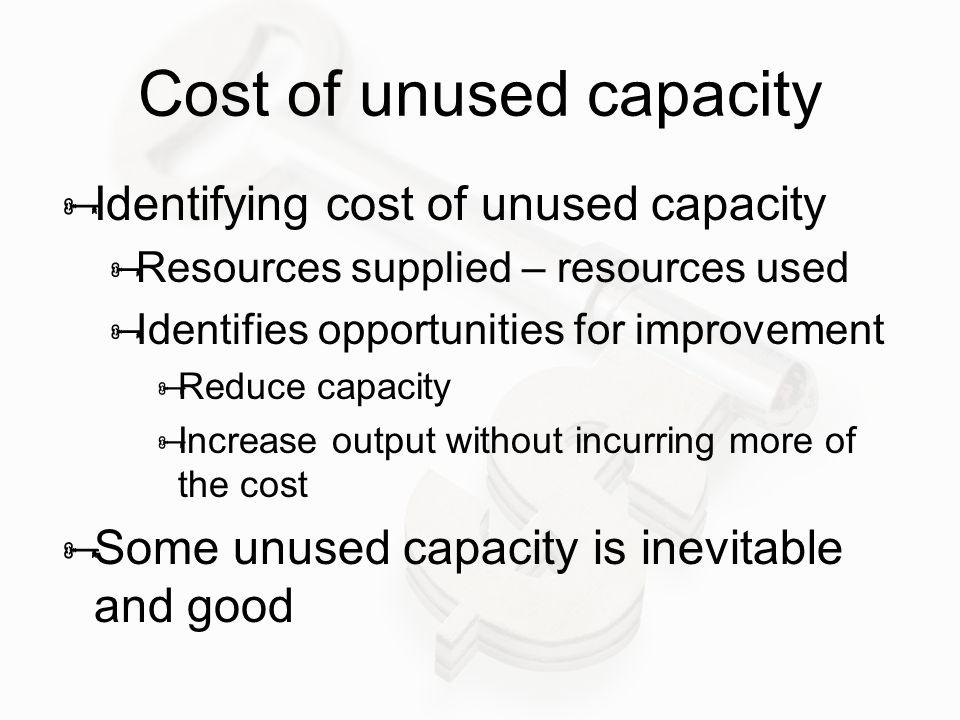 Cost of unused capacity