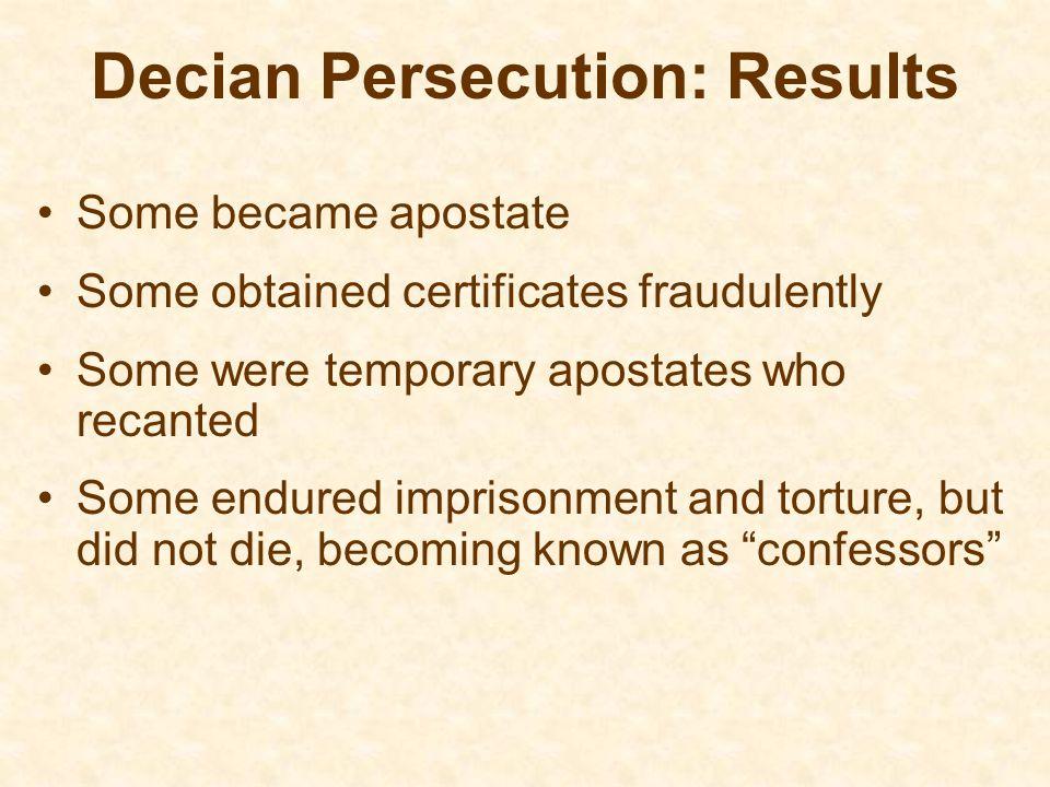 Decian Persecution: Results
