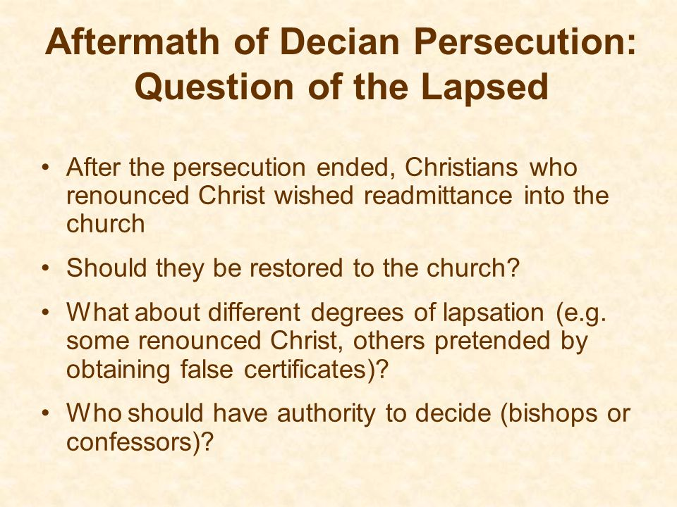 Aftermath of Decian Persecution: Question of the Lapsed