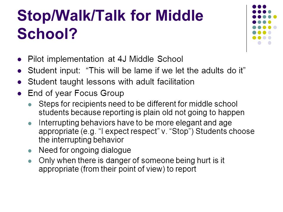 Stop/Walk/Talk for Middle School