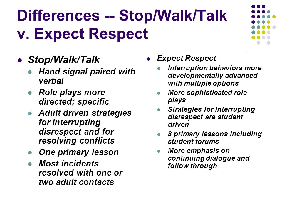 Differences -- Stop/Walk/Talk v. Expect Respect