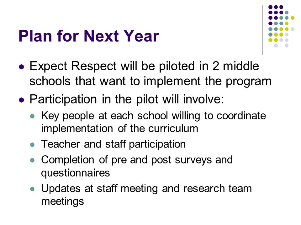 Plan for Next Year Expect Respect will be piloted in 2 middle schools that want to implement the program.