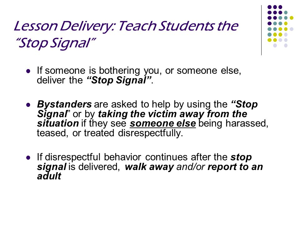 Lesson Delivery: Teach Students the Stop Signal
