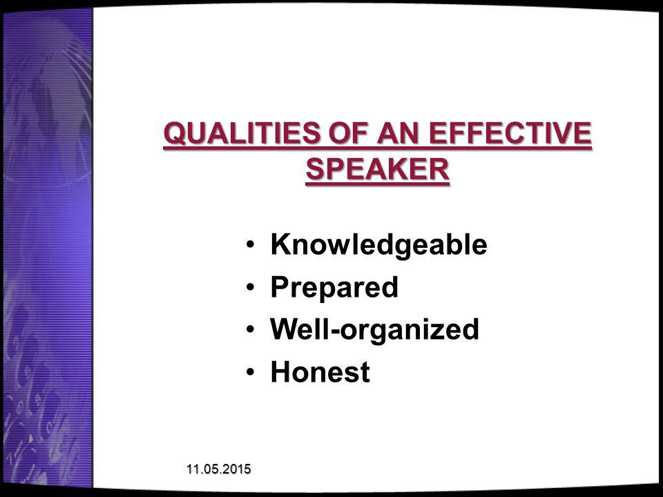 QUALITIES OF AN EFFECTIVE SPEAKER