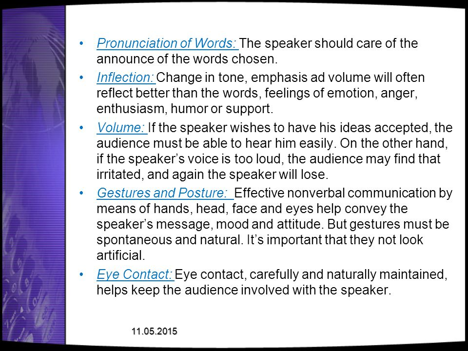 Pronunciation of Words: The speaker should care of the announce of the words chosen.