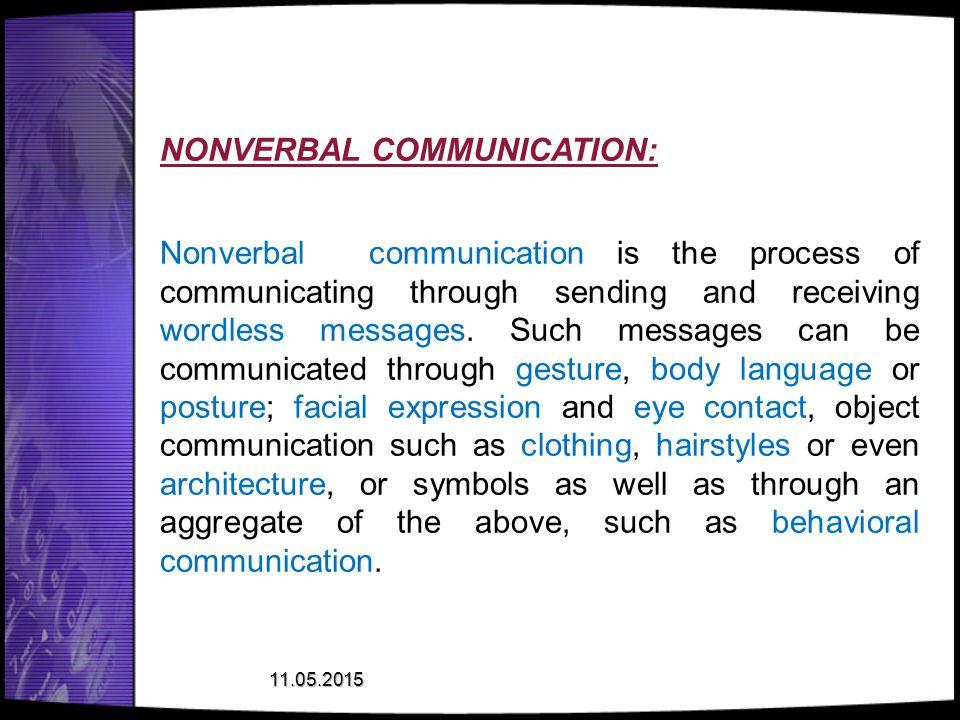 NONVERBAL COMMUNICATION: