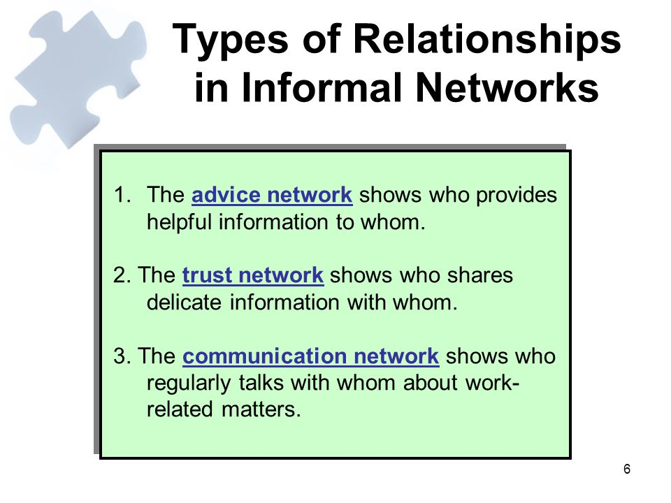 Types of Relationships in Informal Networks