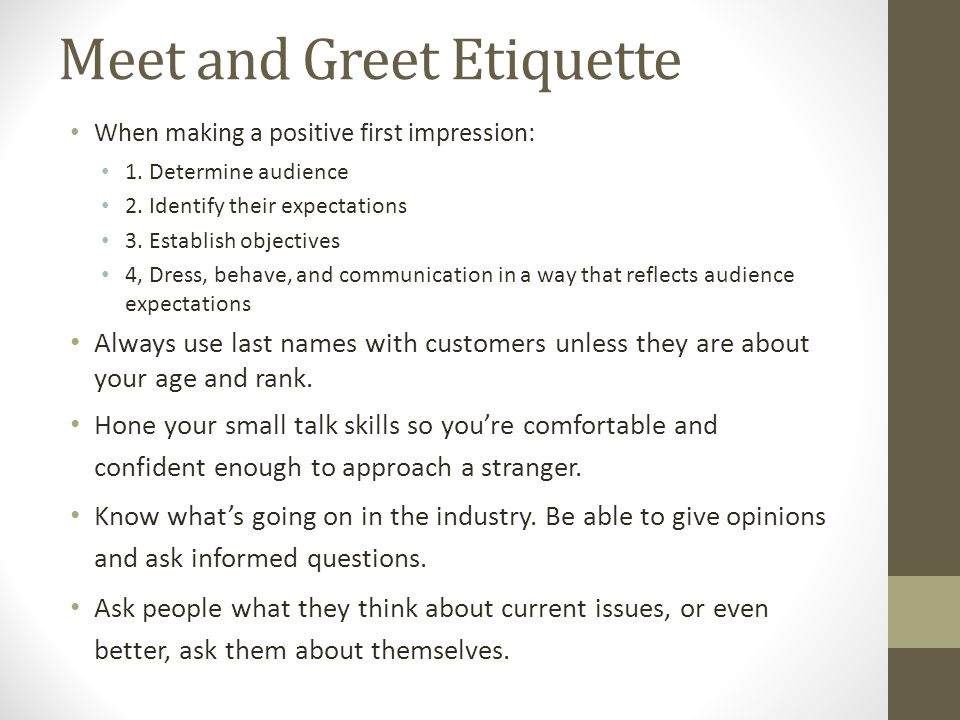 Meet and Greet Etiquette