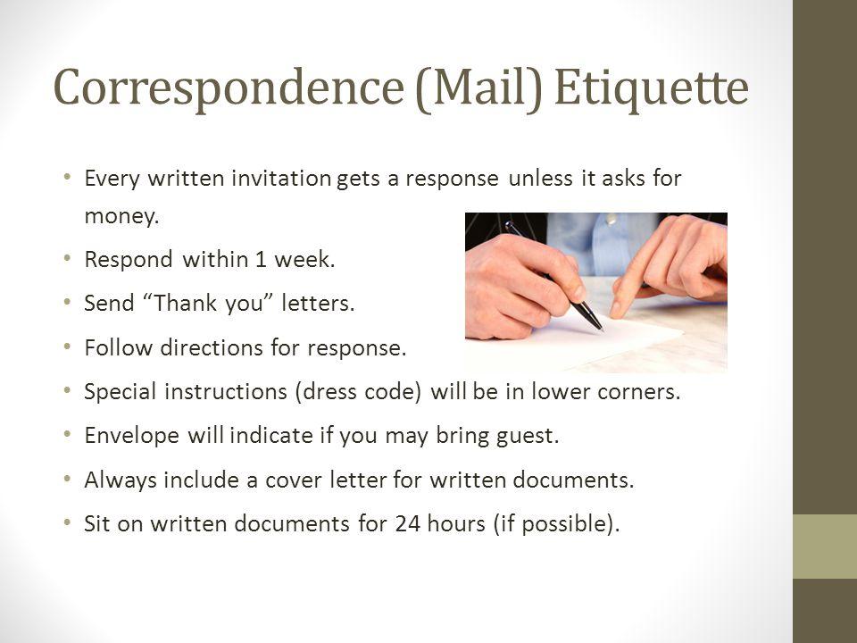 Correspondence (Mail) Etiquette