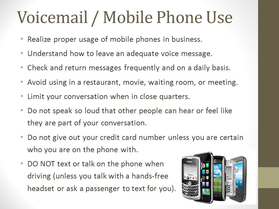 Voicemail / Mobile Phone Use