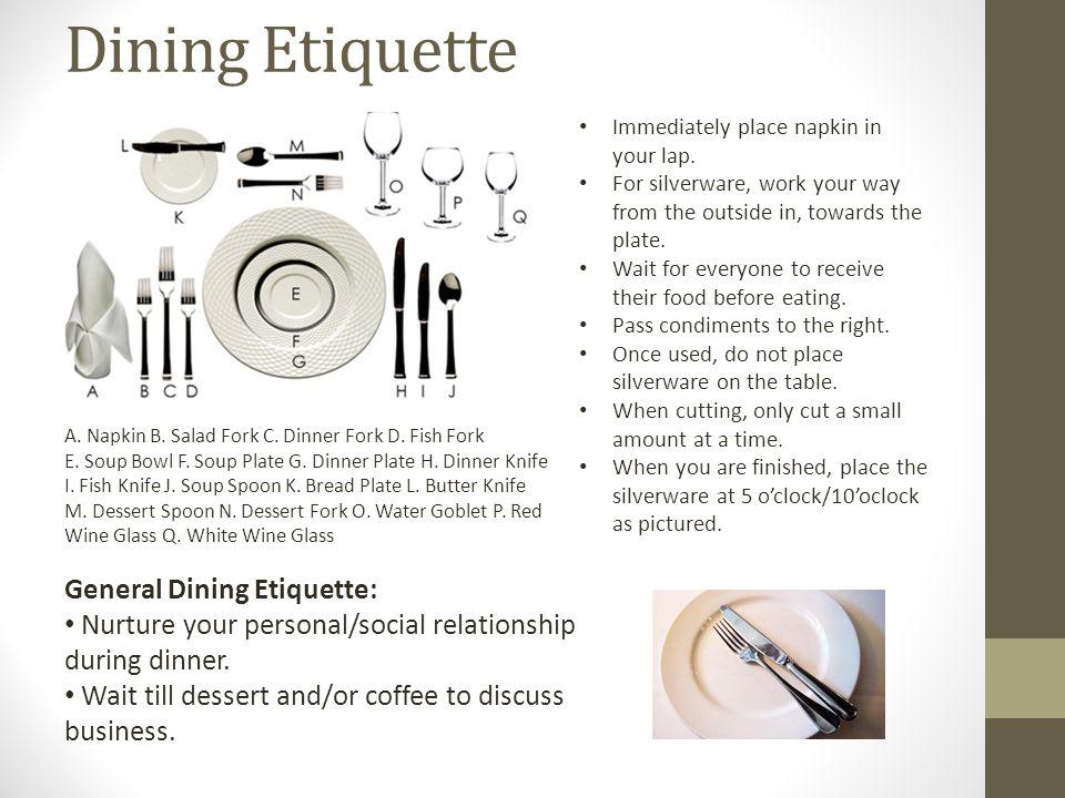 Dining Etiquette General Dining Etiquette: