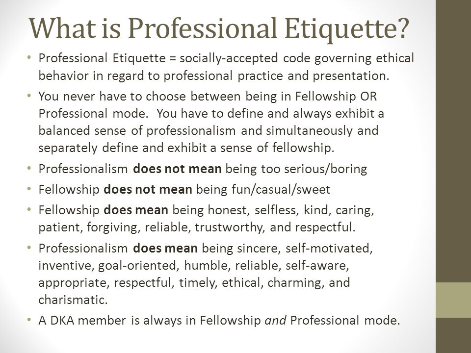 What is Professional Etiquette