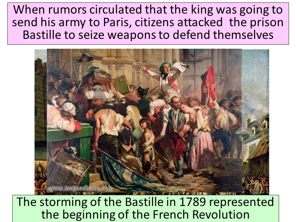 When rumors circulated that the king was going to send his army to Paris, citizens attacked the prison Bastille to seize weapons to defend themselves