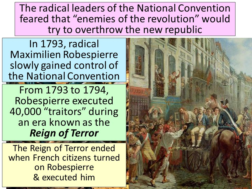 The radical leaders of the National Convention feared that enemies of the revolution would try to overthrow the new republic