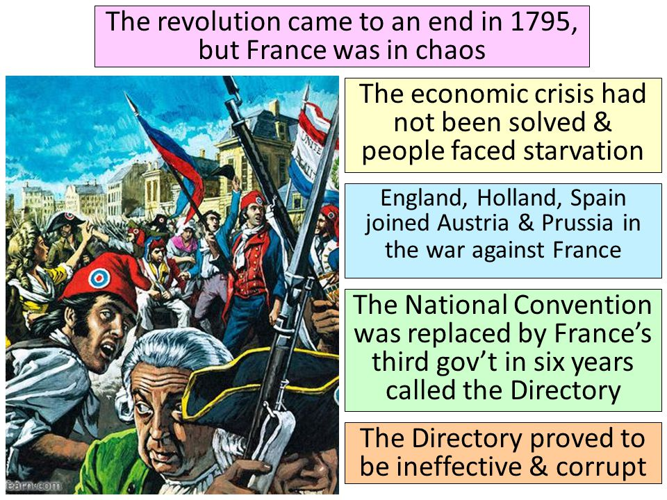 The revolution came to an end in 1795, but France was in chaos