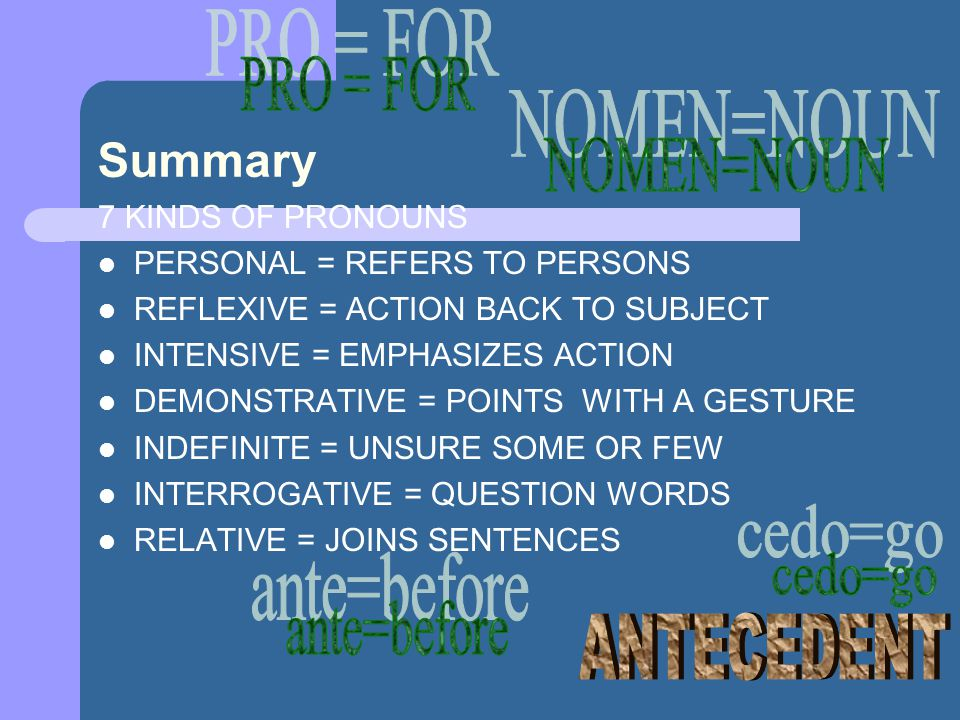 PRO = FOR Summary NOMEN=NOUN cedo=go ante=before ANTECEDENT