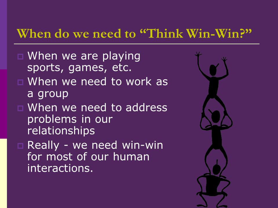 When do we need to Think Win-Win