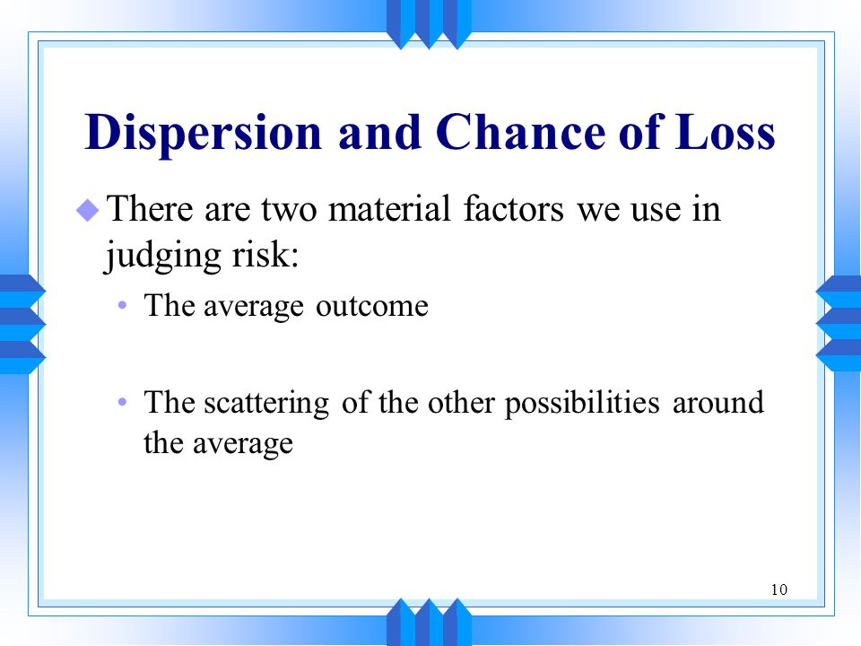 Dispersion and Chance of Loss