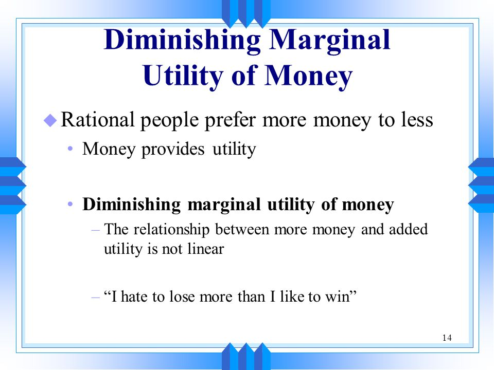 Diminishing Marginal Utility of Money