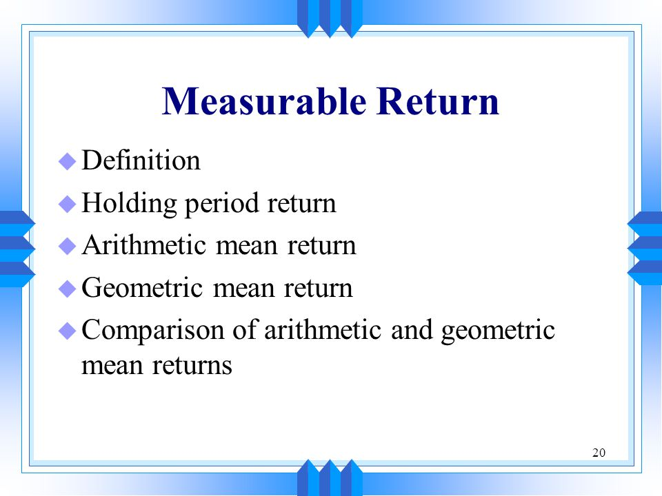 Measurable Return Definition Holding period return