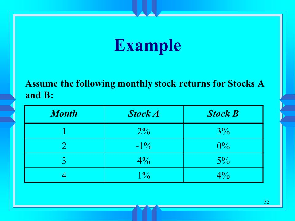 Example Assume the following monthly stock returns for Stocks A and B: