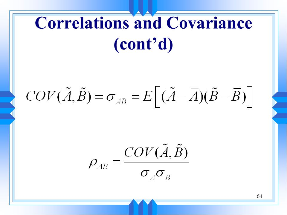 Correlations and Covariance (cont'd)