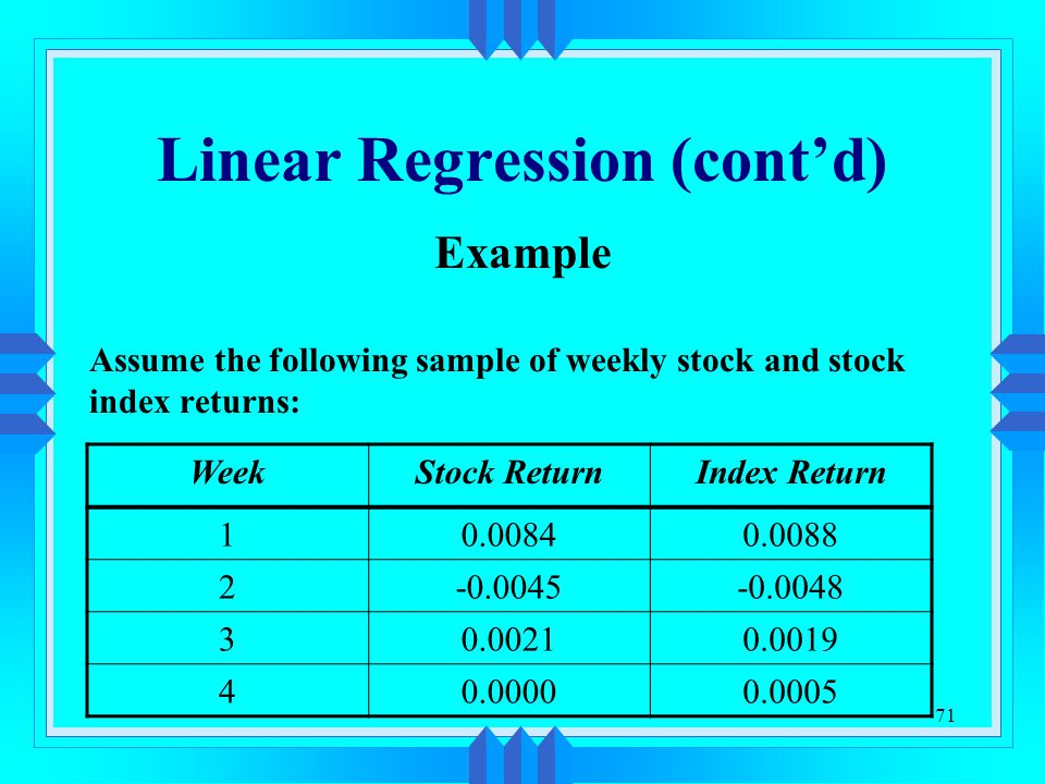 Linear Regression (cont'd)