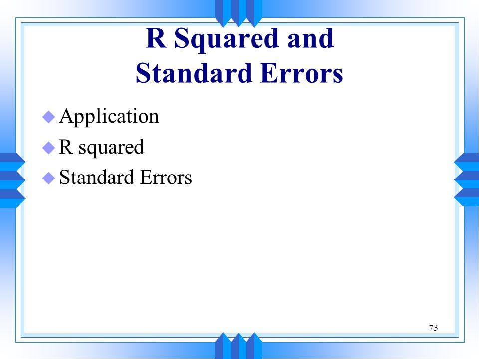 R Squared and Standard Errors